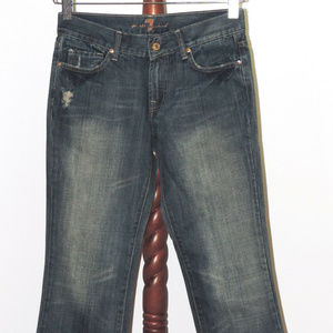 7FAM Distressed Flare Jeans
